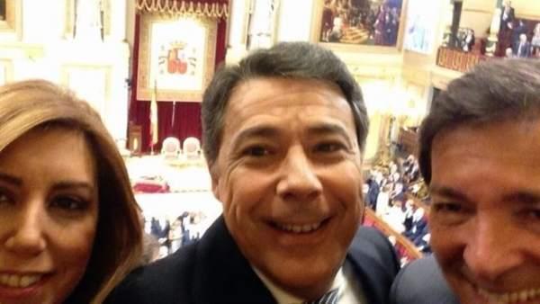 Ignacio González, Susana Díaz y Javier Fernández en el Congreso de los Diputados