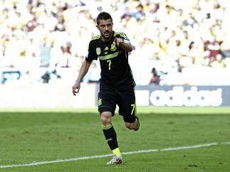 David Villa celebra un gol en el Mundial de Brasil