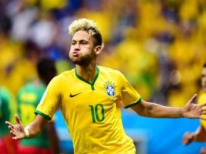 Neymar, en el Mundial de Brasil 2014