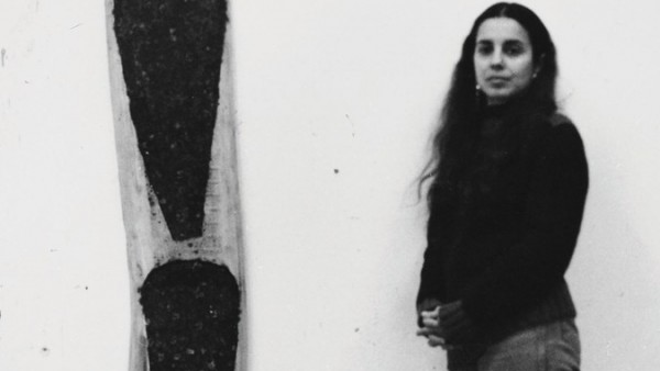 'Ana Mendieta with Untitled wood sculpture', 1984-85