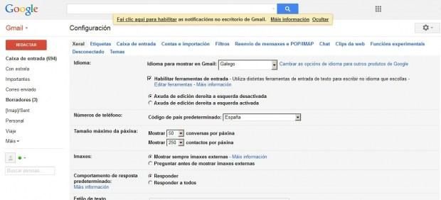 Gmail ya está disponible en gallego a partir de este martes