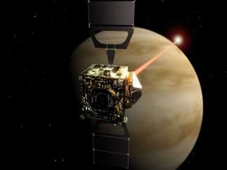 Recreación de la Venus Express orbitando el planeta