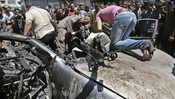 Bombardeo en Gaza.