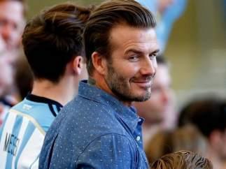 David Beckham, con sus hijos en la final del Mundial de Brasil 2014