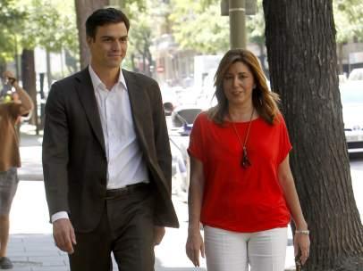 Pedro S�nchez y Susana D�az, juntos en Ferraz