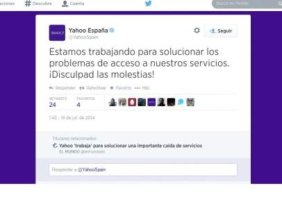 Mensaje en la cuenta de Twitter de Yahoo España.