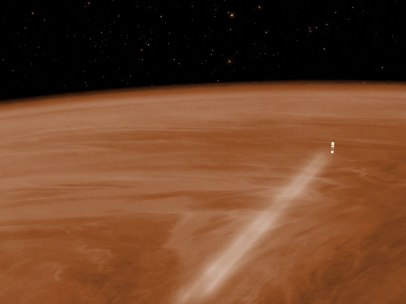 Venus Express emergiendo de la atmósfera de Venus