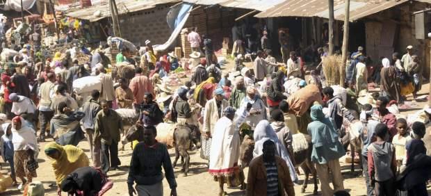 Un mercado en Adis Abeba, Etiopía