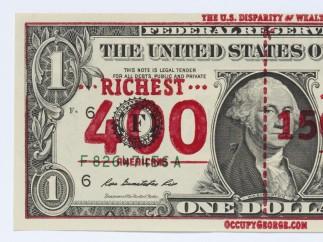 Occupy George overprinted dollar bill