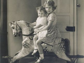 'Princess Elizabeth and Princess Margaret on a rocking horse', August 1932