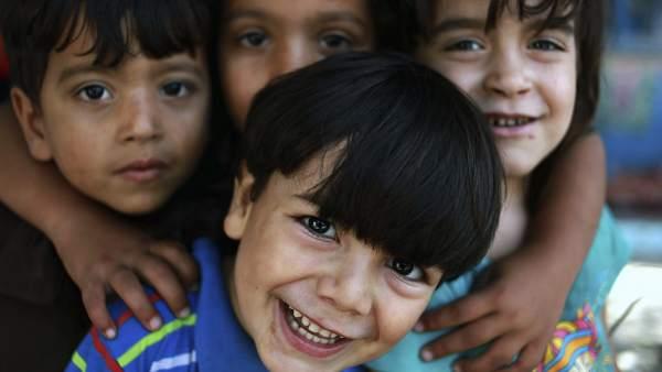 Refugiados en un colegio de la ONU