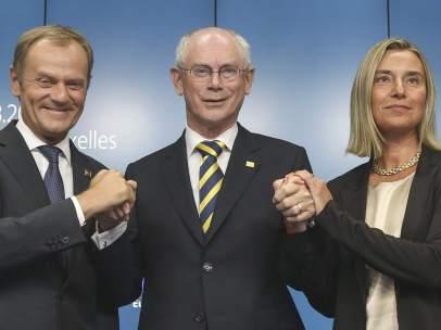 Donald Tusk, Herman Van Rompuy y Federica Mogherini
