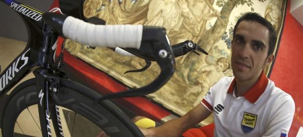 Alberto Contador, en la primera jornada de descanso de la Vuelta 2014