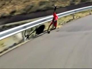 Ca�da de Nairo Quintana en la crono de la Vuelta 2014