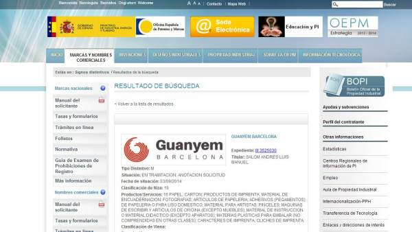 Un asesor del pp intenta registrar las marcas guanyem for Oficina patentes y marcas barcelona