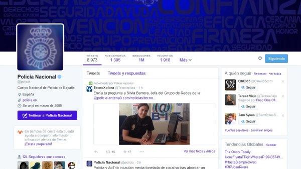 Cuenta de la Policía en Twitter