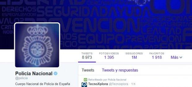 La Policía Nacional alcanza el millón de seguidores en Twitter