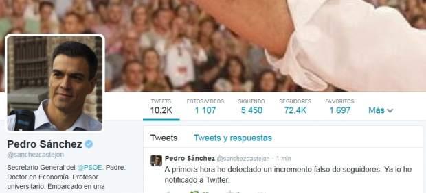 Pedro Sánchez denuncia el incremento falso de seguidores en su cuenta de Twitter