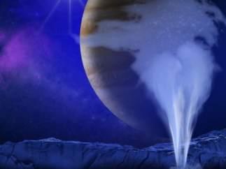 Columnas de vapor de agua en la luna Europa de Júpiter