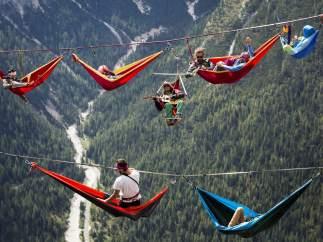 Descansando suspendidos en el aire