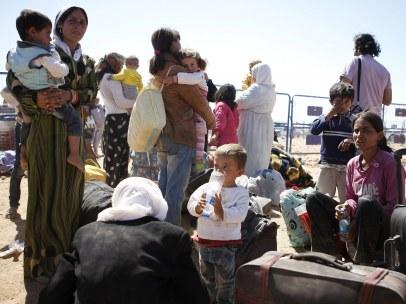 Refugiados sirios en la frontera con Turqu�a