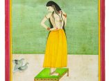 'Jeune femme sur une table basse observant les ébats d'un couple de pigeons'. Jaipur (?), Rajasthan. C. XIXe siècle