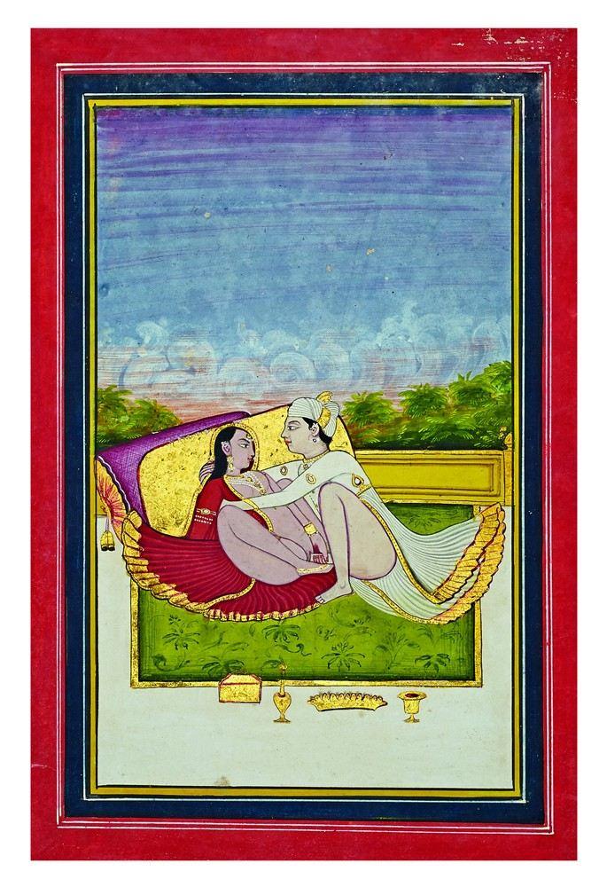 'Position érotique'. Ecole de Jaipur. XVIIIe ou XIXe siècle