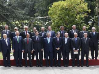Mariano Rajoy junto a los principales empresarios
