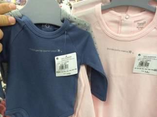 Ropa infantil sexista en el Hipercor