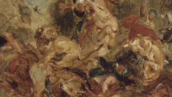 Eugène Delacroix - Chasse aux lions (esquisse), 1854