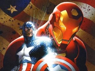 Iron-Man y el Capit�n Am�rica en el c�mic Civil War