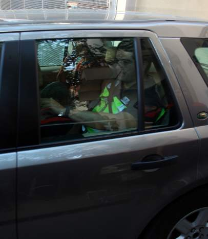 Oleguer Pujol, en el coche policial