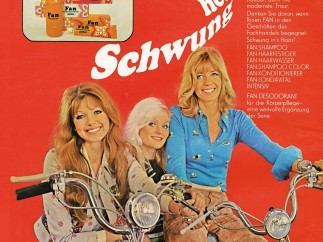 """Advertisement, Fan, """"Swing In and Around the Hair,"""" 1973, VEB Friseurchemie"""