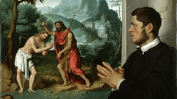 'A Gentleman in Adoration before the Baptism of Christ', c.1555-60