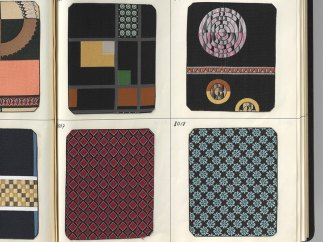 Page with fabric samples from swatch book for tie fabrics. 1970s