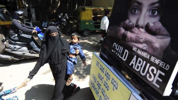 Manifestación contra los abusos infantiles en India