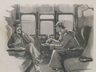 """Strand magazine Vol iv.1892. Page page 646. illustration The Adventure of the Silver Blaze- """"Holmes gave me a sketch of the events"""""""