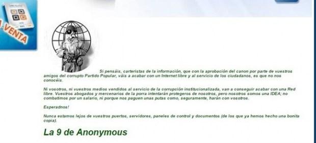 """Anonymous hackea la web de AEDE por su canon: """"No vais a acabar con una Red libre"""""""
