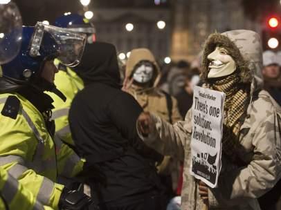 Manifestación de Anonymous en Londres