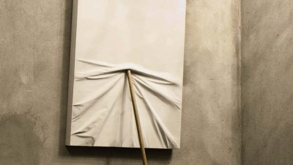 Untitled, broom and canvas