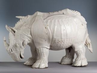 Porcelain rhinoceros based on Dürer's print. Made by Johann Gottlieb Kirchner, Meissen factory, 1730