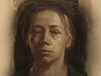Selbstbildnis en face (Self-portrait, full face) by Käthe Kollwitz. 1904