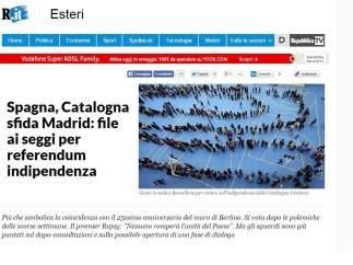 El diario italiano La Repubblica titula su información sobre el 9-N: 'Catalunya desafía a Madrid, urnas abiertas para el referendum de independencia'.