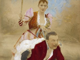 Man on all fours in red jacket with fully clothed woman riding him and holding a whip. Hand coloured photograph. Richard von Krafft-Ebing (1840-1902)