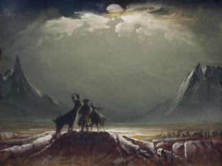 Peder Balke - Sami with Reindeer under the Midnight Sun, about 1850