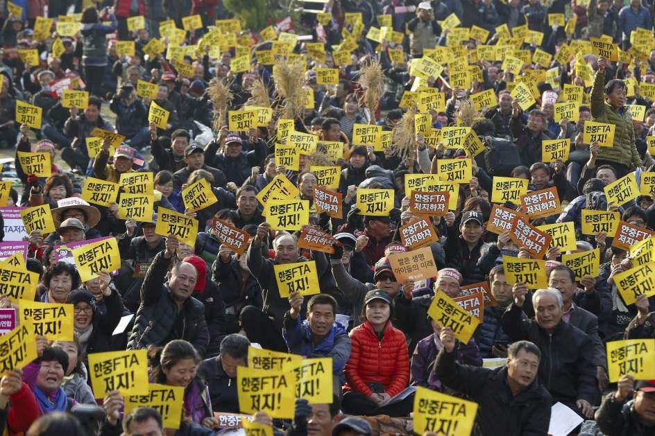 Protesta contra el tratado de libre comercio