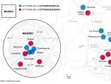 Dsitribución de grupos de ideología extrema en Madrid