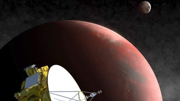 Un día en la órbita del planeta Plutón, el más alejado del Sol, y su luna más grande, Caronte