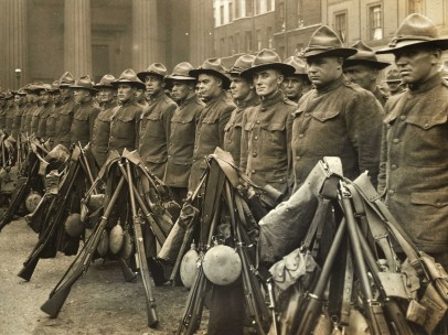 The first American contingent of the War, briefly in Wellington Barracks, 1917