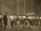Bayonet practice for the 1st Irish Guards at Chelsea Barracks, in either 1911 or 1912